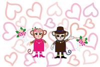 可愛いサルのカップルのグリーティングカード