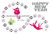 サッカーボールとピンクの猿のイラスト年賀状テンプレート