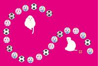 サッカーボールと猿のイラストのメッセージカード