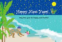 海辺の夜の帽子をかぶったハート模様のサルの年賀状テンプレート