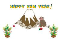 富士山と猿と門松の年賀状テンプレート