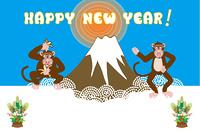 富士山とユニークな猿のイラスト年賀状テンプレート