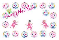 ピンクのボールとのサルのイラスト年賀はがき