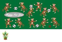 サッカーファンの11匹のサルのイラスト年賀状テンプレート