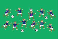 サッカーをする11匹のサルのイラスト葉書