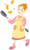 料理を作る女性
