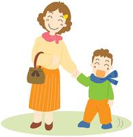 外出するお母さんと息子