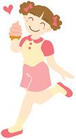 ソフトクリームを持つ少女