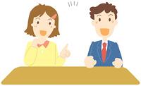 会話するビジネスマンとビジネスウーマン