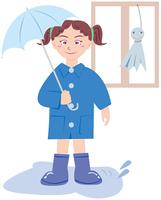 傘を差す少女