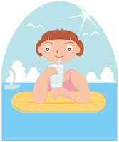 浮き輪に乗る女性