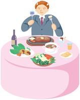 ステーキを食べる男性