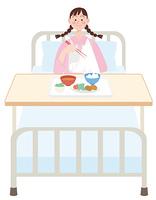 食事をする入院患者