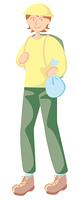 ごみ袋を持つ女性