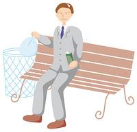 ごみを捨てる男性