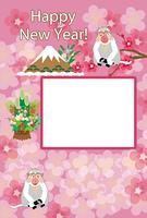 可愛いサルと富士山のピンクのフォトフレーム年賀状