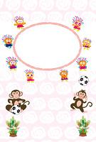 可愛いサルとキッズのサッカーボール付きフォトフレーム年賀状