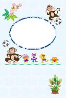 可愛いサルとサッカーボールのブルーのフォトフレーム年賀状