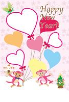 可愛いピンクのサルと風船型フォトフレーム年賀状