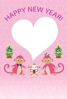 可愛いピンクのサルのハート型フォトフレーム年賀状