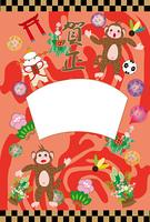 可愛いサルのカラフルな赤いフォトフレーム年賀状