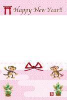 可愛いサルのピンクのお正月写真フレーム年賀状