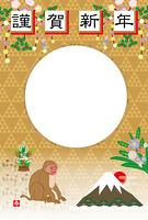 日本猿と富士山の和風写真フレーム年賀状