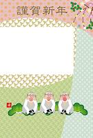 可愛い三びきのサルの和風フォトフレーム年賀状