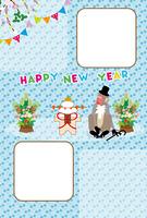 シルクハットをかぶったサルの紳士のお正月フォトフレーム年賀状