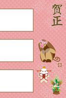 フェミニンなピンクのサルのイラスト写真フレーム年賀状