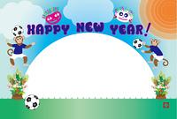 可愛いサッカーをするサルとキッズのフォトフレーム年賀状