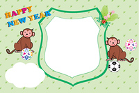 可愛い二匹の子猿とサッカーボールのエンブレム型フォトフレーム年賀状
