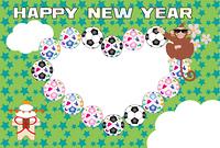 ポップなサングラスのサルとサッカーボールのハート型写真フレーム年賀状