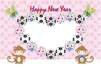 可愛いサルの子供とサッカーボールのハート型フォトフレーム年賀状