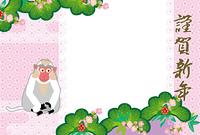 可愛い白いサルと松竹梅のピンクの写真フレーム年賀状