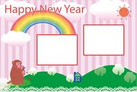 可愛い花恋占いのさるとポップなピンクの縦縞フォトフレーム年賀状