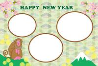 フェミニンな猿と富士山の楕円形フォトフレーム年賀状