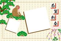 和風のニホンザルと松の木の正方形二枚のフォトフレーム年賀状