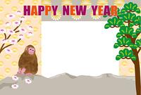 和風の猿の申年のフォトフレーム年賀状