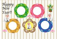 可愛い三びきの白いサルと4枚の円形フォトフレーム年賀状