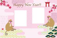 女らしい可愛いサルとピンクの花柄のフォトフレーム年賀状