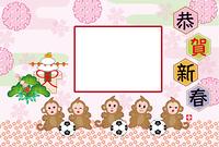 可愛い5匹の子ザルとサッカーボールの写真フレーム年賀状