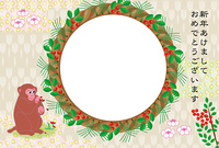 可愛いサルとお花の丸い花輪型フォトフレーム年賀状