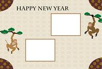 モダンな松の木にぶら下がる二匹のサルの写真フレーム年賀状