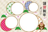 和風のサルと4枚の丸型写真枠年賀状テンプレート