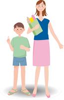 買い物をする母と息子