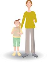 買い物をする父と娘
