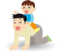一緒に遊ぶ父と息子