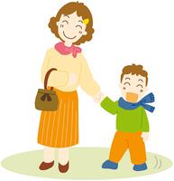 外出する母と息子