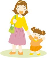 外出する母と娘